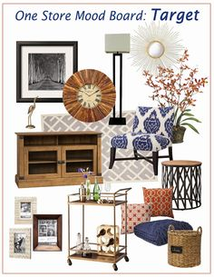 Navy & Orange  Living Room Mood Board | Everything found at one store!!! Navy & Orange comfy, rustic glam.  #target #interiordecorating