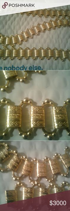 Vintage Chanel Gold Chain link Belt Vintage Chanel Belt or Necklace. Gold chain link. Signature logo on each link.  Purchased in Paris, France. Chanel Accessories Belts