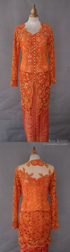 Kebaya orange dengan detail payet senada (IG @ratukebaya_medan)