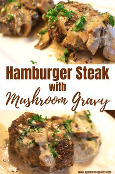 Hamburger Steak with Mushroom Gravy is a perfect weeknight dinner.  It comes together in less than a hour and is Keto/Low Care friendly making this a dish everyone can enjoy! . . #hamburger #hamburgersteak #mushrooms #gravy #keto #ketolife #ketogirl #sparklesnsprouts