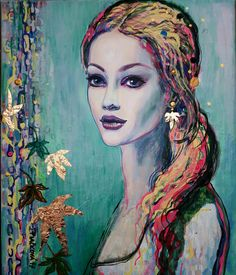 Winter, acrylic, gold leavs, portret
