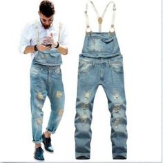 Fashion Mens Causal Denim Slim Jumpsuits Suspender Trousers Overalls Jeans Pants