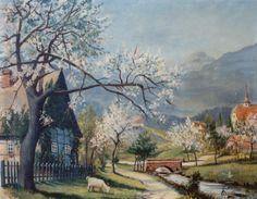 Ermanno Besozzi pittore 1933 Paesaggio di montagna olio su tela cm. 40x50 arc. 948
