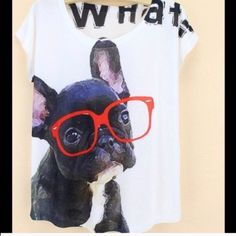 """Graphic Tee """"What"""" New Graphic Tee """"What"""" New             One Size 23"""" (L) 36"""" Bust Fabric: Cotton/Polyester  Sleeve: ShortNO TRADE Cute Tops Tees - Short Sleeve"""