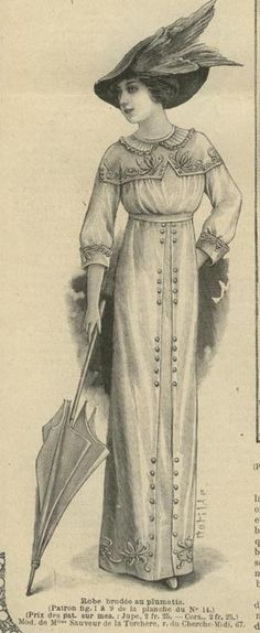 April 1912 Dress with embroidered shawl on the shoulder