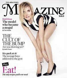 Heidi Klum shows off her legs on the cover of The Times Magazine! Time Magazine, Magazine Covers, Hollywood Celebrities, Female Celebrities, Cover Model, My Favorite Image, Elizabeth Taylor, Heidi Klum, Covergirl