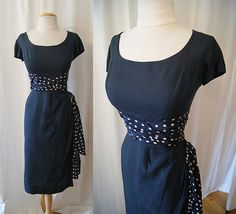 Chic 1950's midnight navy blue silk cocktail wiggle by wearitagain, $148.00