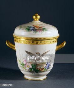 Sugar bowl, part of coffee service, ca 1865, porcelain, L'escalier de cristal manufacture, Paris. France, 19th century.