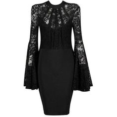 ELEGANT BLACK LACE FLARE SLEEVE PARTY DRESS SPRING 2018 ($70) ❤ liked on Polyvore featuring dresses, flared sleeve dress, bell sleeve dress, lacy dress, lace dress and lace bell-sleeve dresses