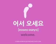 "To say ""welcome"" in Korean, you say ""eoseo oseyo"" (in Hangul: 어서 오세요 ), but to fully understand this word, you need to take a look at how it is used in context."