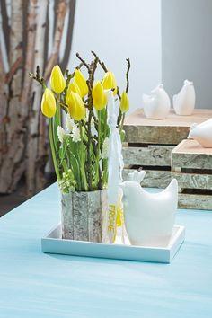 TIZIANO Huhn Gallina mit DIY Vase Tulpen
