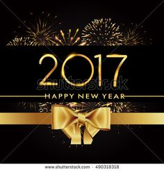 Happy New Year 2017 with fireworks and golden ribbon isolated on black background, text design gold colored, vector elements for calendar and greeting card.
