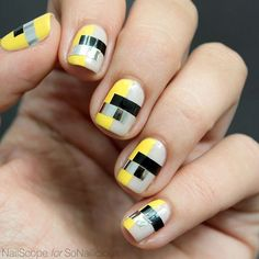 #SoNailicious.com: Elina @nailscope shows you how to do this Funky Color Blocking manicure yourself in just 4 easy steps!