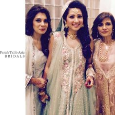 """""""One of our Gorgeous brides on her engagement in an aqua #FarahTalibAziz bridal with complementing thread and pearl embellishments #FarahTalibAzizBRIDALS"""""""