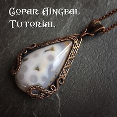 TUTORIAL - Dragon Gate Pendant - Wire Wrapping - Jewelry Pattern - Teardrop Cabochon Wire Wrapped Gemstone Lesson - Wire Wrap Stone by CoparAingealTutorial on Etsy