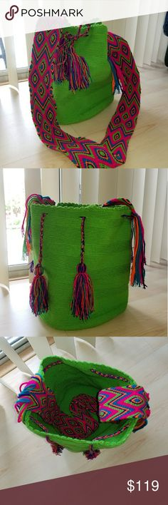 Wayuu bag colombian Bag crossbag Brand new Beautiful Wayuu Bag as seen on TV in Celebrities such as Angel Model Alessandra Ambrosio, etc. South american Artesanal bag hand made 100% in Huajira, Colombia. Ask me! artesanal Bags Crossbody Bags