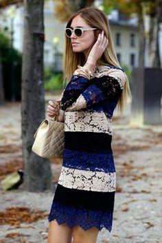 Vestido de encaje de tres colores
