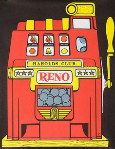 Harolds Club, Reno Nevada, - 1050s travel poster (gaming, casino, slot machine, slots)