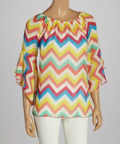 Look at this #zulilyfind! Yellow & Coral Zigzag Ruffle Sleeve Top by R Rouge #zulilyfinds