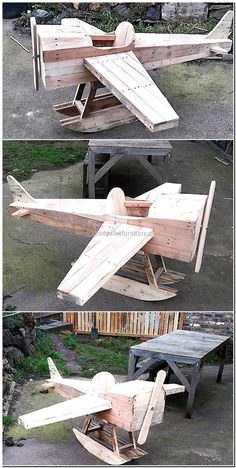 pallets made aircraft playhouse for kids http://smallhousediy.com/category/playhouse-building-tips/
