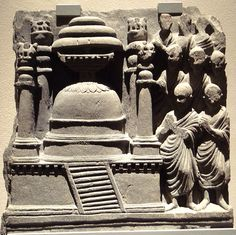 Stupa surrounded by four lion-crowned pillars. Gandhara Art, 2nd century AD.