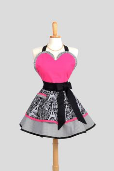 Sexy Retro Pinup Apron . Flirty and Cute Retro Womans Apron with Michael Millers Eiffel Towers Hot Pink on Etsy, $45.00