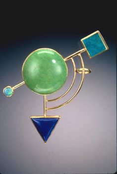 "Yumi Ueno Art Jewelry & Metal : Jewelry Gallery : Brooch. "" Color of Universe ""  Chinese turquoise, Lapis lazuli, Opal, 22,18KG"