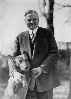 Herbert Hoover with his dog King Tut: