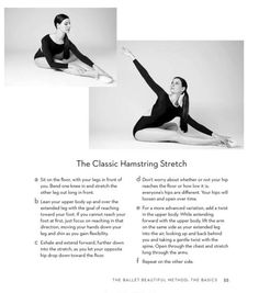 """Mary Helen Bowers demonstrating the classic hamstring stretch, from her book """"The Ballet Beautiful Method."""""""