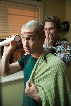 50/50. JGL really shaved his head during this scene. Seth Rogen's reactions were completely real!