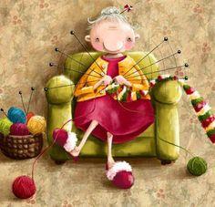 Knitting Lady - illustration by Elina Ellis Knitting Quotes, Knitting Humor, Decoupage, Art Fantaisiste, Yarn Storage, Knit Art, Whimsical Art, Cute Illustration, Needlework
