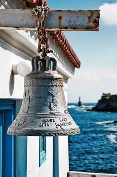 Bell in Agia Thalassini church, Andros island, Cyclades, Greece Andros Greece, Myconos, Mekka, Am Meer, Greece Travel, Greek Islands, Albania, Crete, Coastal Living