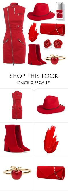 """""""All Red"""" by the-game-is-something ❤ liked on Polyvore featuring Dsquared2, Brixton, Maison Margiela, Couture Colour, Maybelline, Alison Lou and Bling Jewelry"""