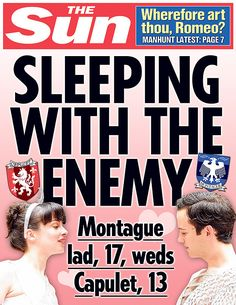 Romeo and Juliet. | 10 Shakespeare Plays As Sun Front Covers #williamshakespeare #shakespeare #newspaper
