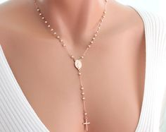 Rosary Necklace Rose Gold Filled Pink Chalcedony Women Wedding Bride Rosaries Lariat Y Style Necklaces Jewelry Gift for her