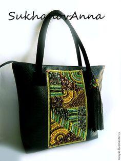 """Купить Сумка """"Палитра Августа2"""" - чёрный, сумка кожаная, сумка замшевая, Сумка с вышивкой"""
