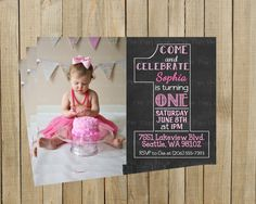 Vintage Chalkboard One First Birthday por PinkPoppyDesign en Etsy