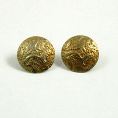 Vintage Gold Washed Sterling Silver Engraved Button Earrings by mybooms on Etsy