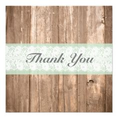Shabby Chic Rustic Mint Thank You Card for wedding, birthday, or any event