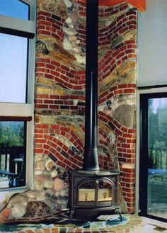 Hearth and a brick and rock wall - all in one
