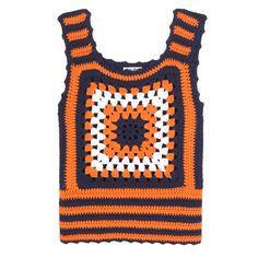 bolso crochet color naranja y natural - Buscar con Google
