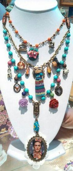 Collar Frida kahlo 044 333 508 58 55 # diseñado por deseos divinos #de Guadalajara