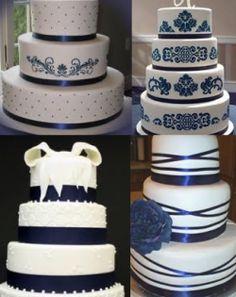 Navy Blue Wedding Cakes... follow the link for more ideas/examples of incorporating navy into the wedding!
