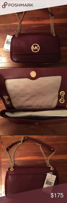 Michael Kors Purse Maroon, smaller sized Michael Kors Purse with gold embellishments. Authentic. Brand new, never been used, still with tags. Michael Kors Bags Mini Bags