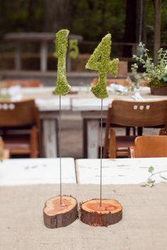 mossy table numbers // otra opción para poner los números de las mesas ... muy naturalista