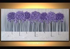 Large Modern Home Decor Purple Lavender Abstract Tree by ZarasShop