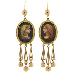 Preowned Victorian Painted Egyptian Nekhbet Queen Earrings ($5,385) ❤ liked on Polyvore featuring jewelry, earrings, multiple, earring jewelry, pre owned fine jewelry, letter earrings, bezel earrings and ball earrings