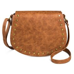 T-Shirt & Jeans Women's Faux Leather Saddle Handbag with Magnetic Closure - Brown, Red