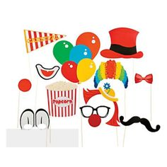 You'll have breakout stars under the big top at your circus themed birthday party for boys or girls with these photo accessories. The Carnival Costume Photo Booth Props bring out the clown in everyone                                                                                                                                                                                 More