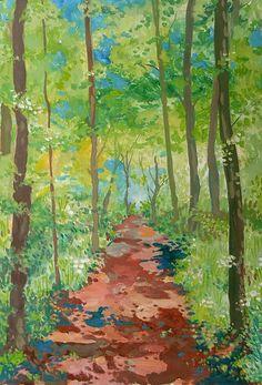 Waldweg im Mai Mai, Painting, Seasons Of The Year, Switzerland, Sketches, Landscape, Painting Art, Paintings, Painted Canvas